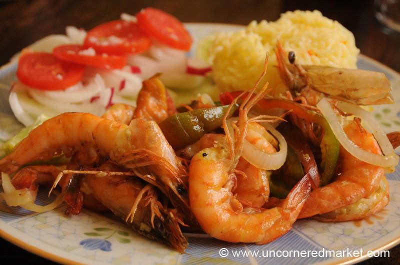 Guatemalan Food, Grilled Shrimp for Dinner - Livingston, Guatemala