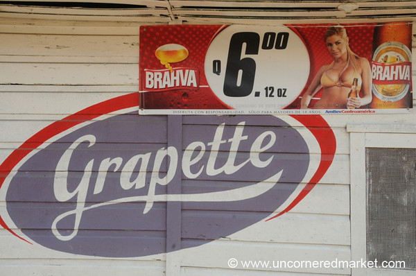 Old School & Beer Advertisements - Livingston, Guatemala