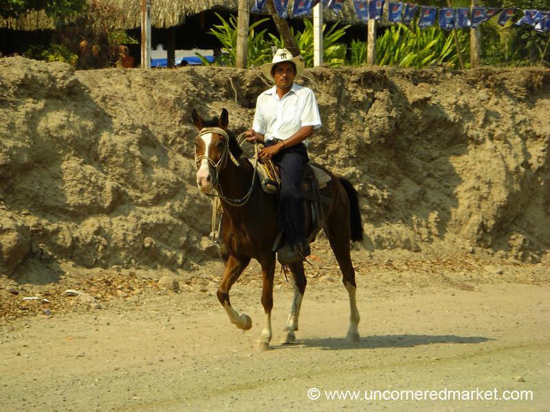 Guatemalan Man on Horse - Rio Dulce, Guatemala