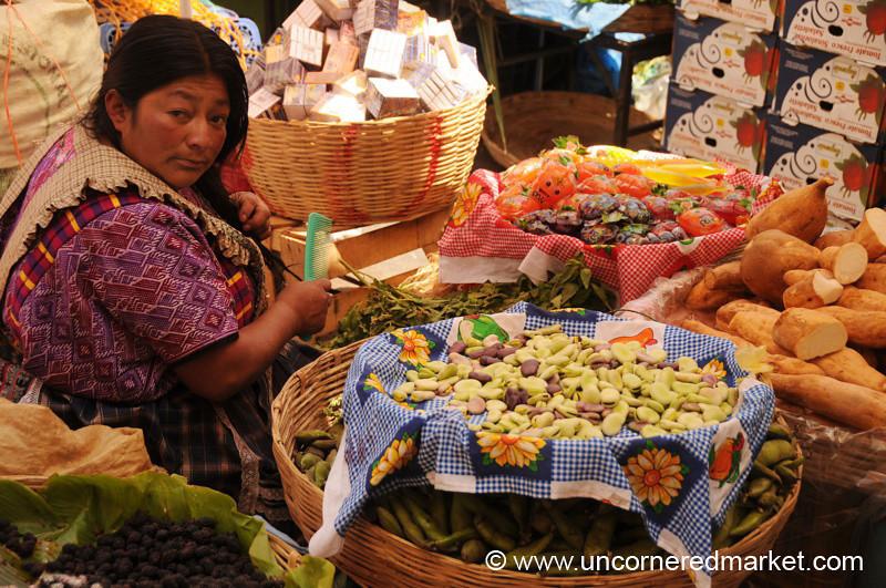 Vendor Combing Her Hair - Xela, Guatemala