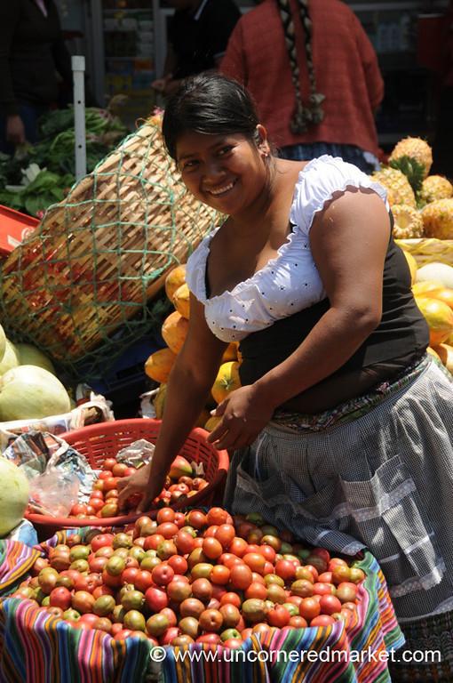 Guatemalan Vendor Selling Jocotes - Xela, Guatemala