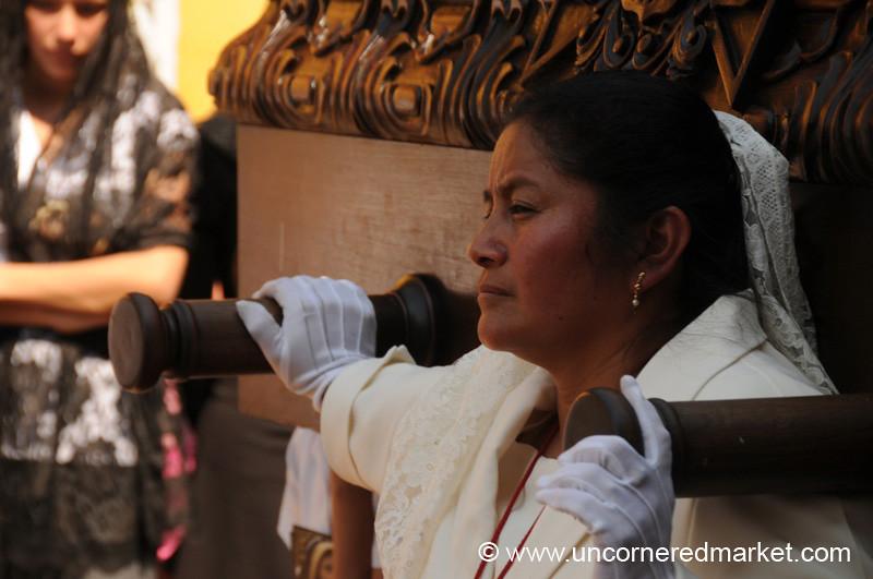 Woman Carrying Float, Semana Santa - Antigua, Guatemala