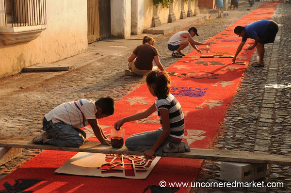 Semana Santa Alfombra Preparations - Antigua, Guatemala