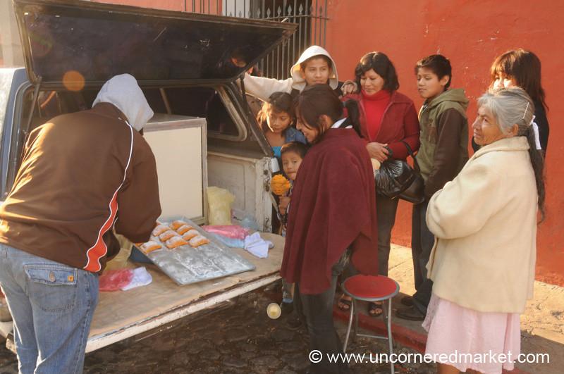 People Buying Empanadas Dulces, Semana Santa - Antigua