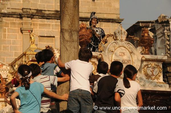 Children Getting a Better View, Semana Santa - Antigua, Guatemala