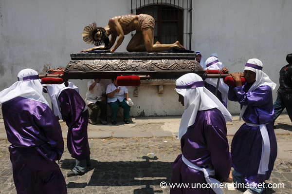 Men Carrying Jesus' Statue, Semana Santa - Antigua, Guatemala