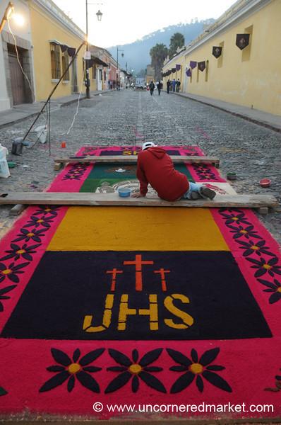 Man Making Alfombra, Semana Santa - Antigua, Guatemala