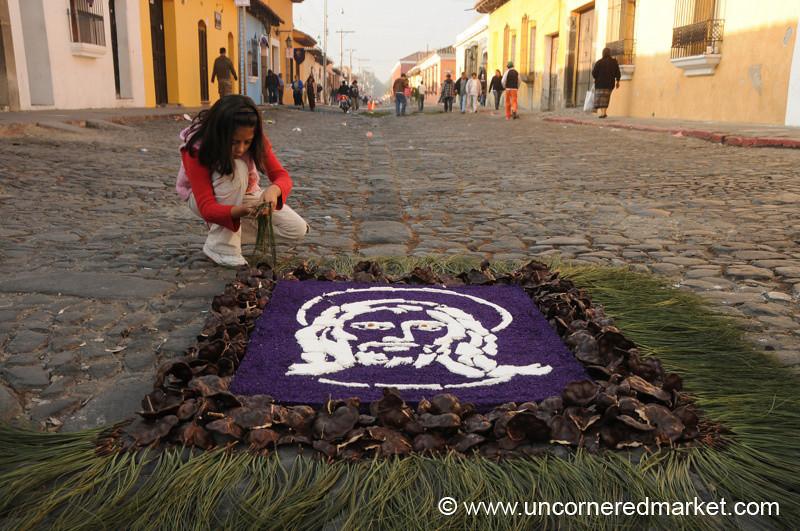 Guatemalan Girl with Alfombra, Semana Santa - Antigua, Guatemala