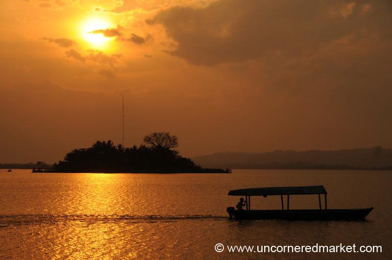 Boat Ride at Sunset - Flores, Guatemala