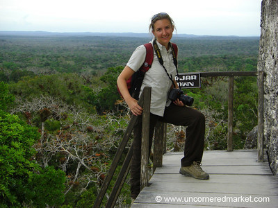 Audrey at Top of Temple 5 - Tikal, Guatemala