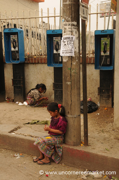 Guatemalan Girls at Pay Phones - Coban, Guatemala