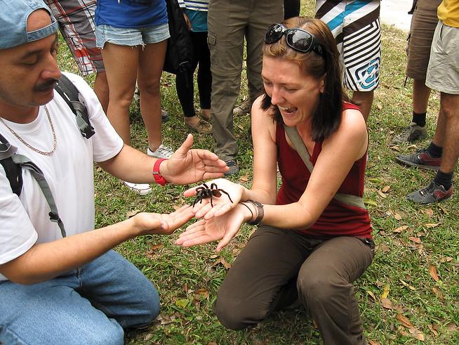 Holding a tarantula in Guatemala