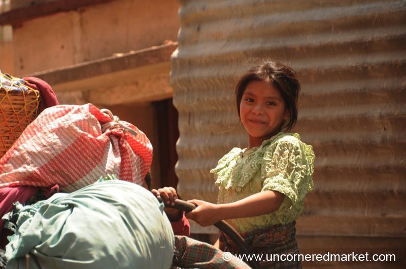 Guatemalan Girl on a Truck - Totonicapan, Guatemala