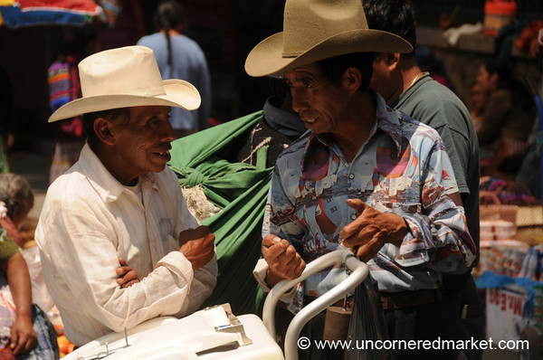 Talking Men in Hats - Totonicapan, Guatemala