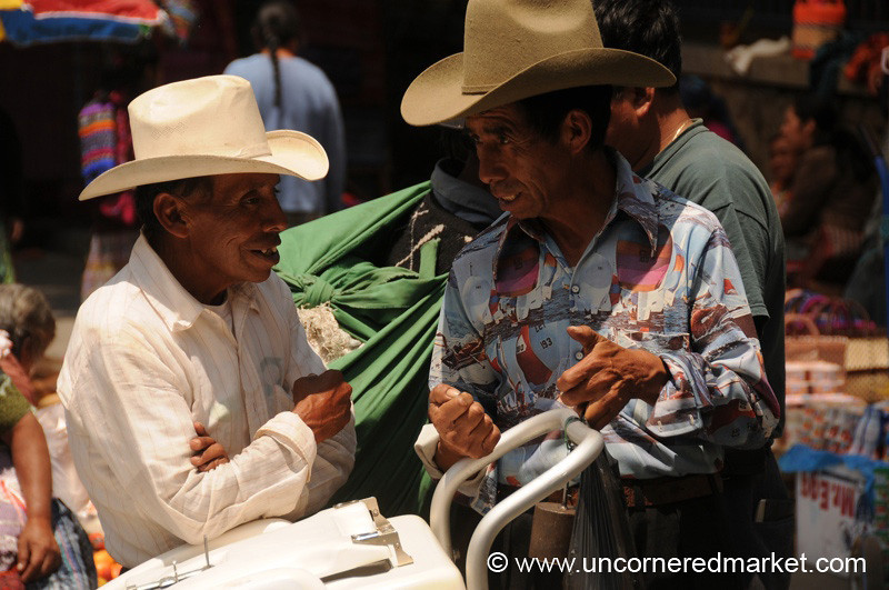 Talking Men in Hats - Totonicapan, Guatemala