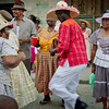 Old people dancing in the streets.