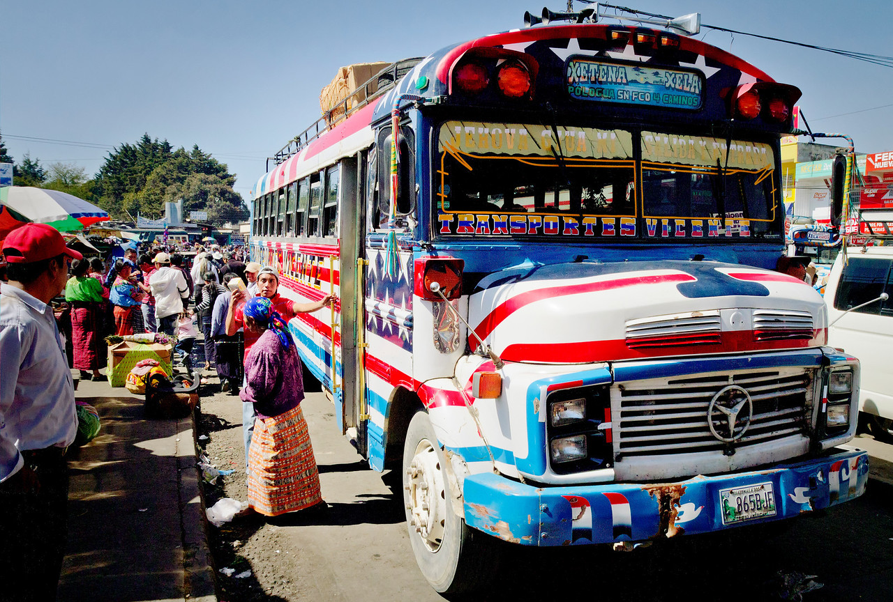 Waiting for my chicken bus in Xela.