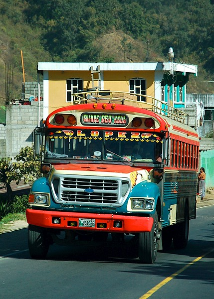 """The """"chicken busses"""" carried a lot of the people back and forth between the towns; we saw lots of them,"""