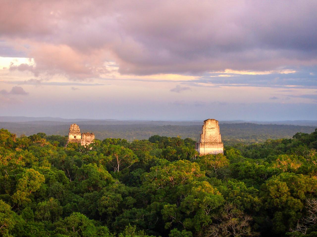 Sunset at Tikal in Guatemala