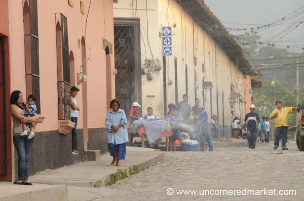 Street Food Vendors, Gracias Street Scene - Honduras