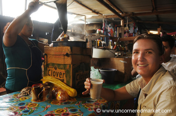 Audrey Drinking Coffee at Market - La Esperanza, Honduras