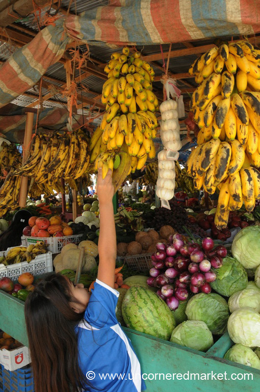 Girl Reaching for Bananas - La Esperanza, Honduras