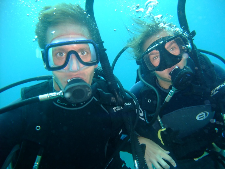 Audrey and Dan Scuba Diving - Utila, Honduras