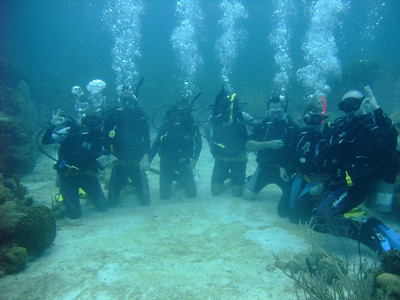 Under Water Scuba Diving Group Shot - Utila, Honduras