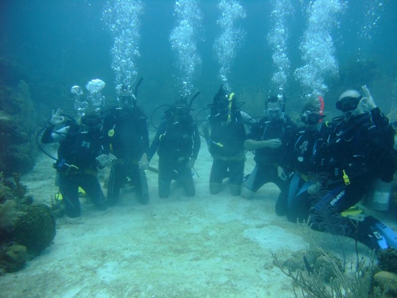 Under Water Scuba Diving Group Shot - Utila, Honduras