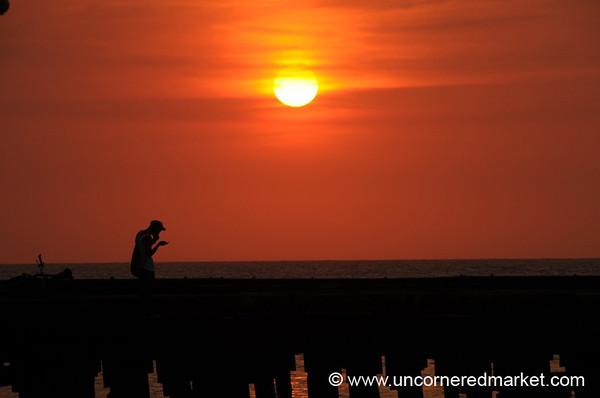 On the Boardwalk at Sunset - La Cebia, Honduras