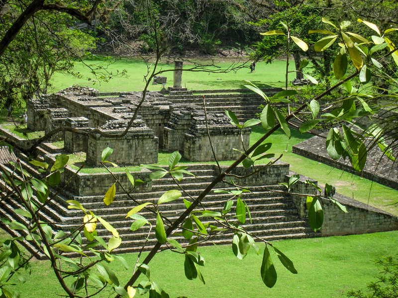 Copan ruins through the trees
