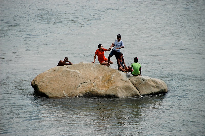 We traveled alongside many rivers, noticing that kids everywhere love to play in the water -- especially when it's hot.