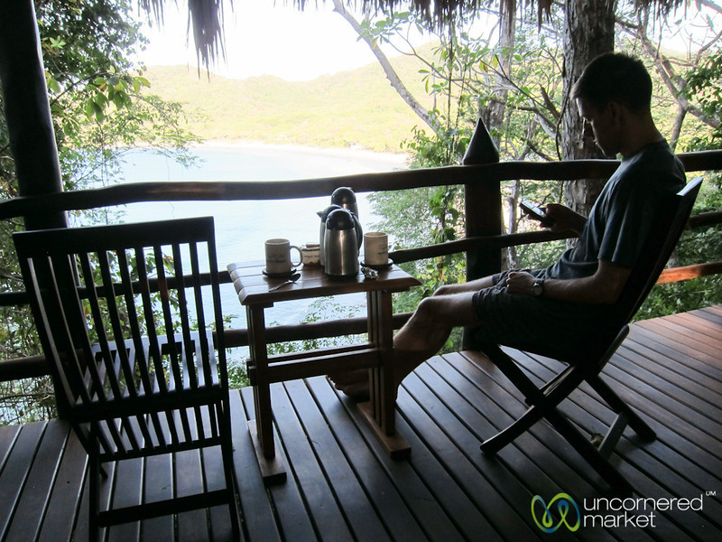 Dan Enjoys his Morning Coffee with a View - Morgan's Rock, Nicaragua