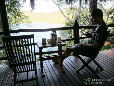 Dan Enjoys his Morning Coffee with a View - Morgan's Rock, Nicaragua