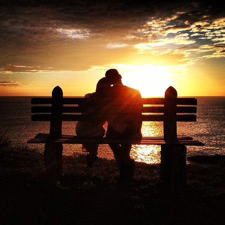 Celebrating our 6-year anniversary on the road, with a break, a bench, a #sunset