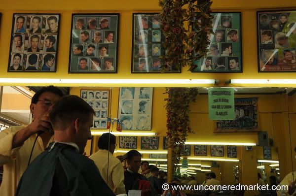 Dan at the Barber - Xela, Guatemala