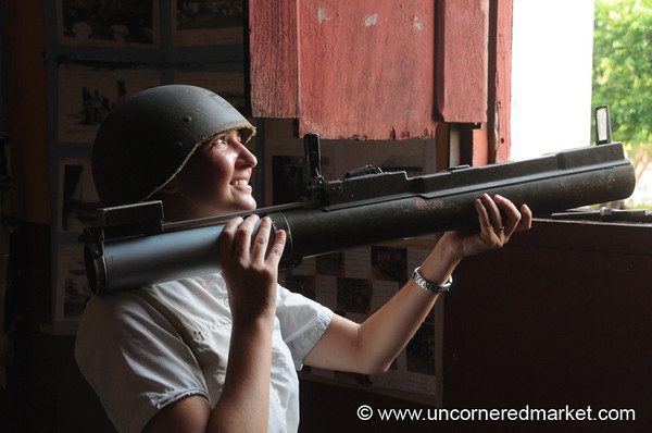 Audrey Tries Out a Rocket Launcher