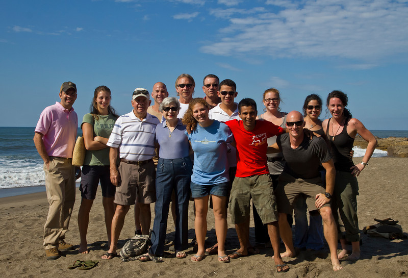 Our volunteer group takes a beach break.