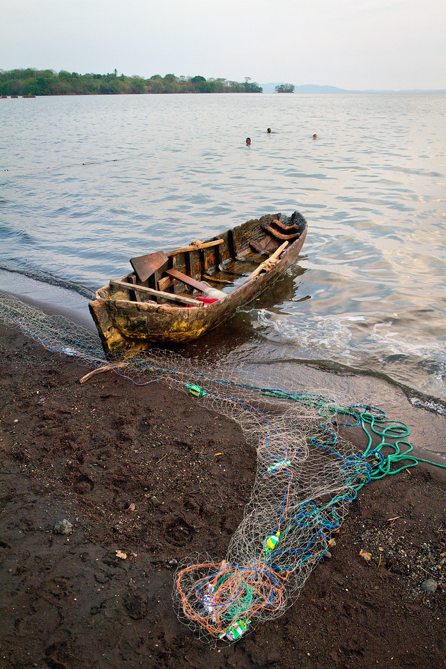 Fishing with a net in Lake Nicaragua.