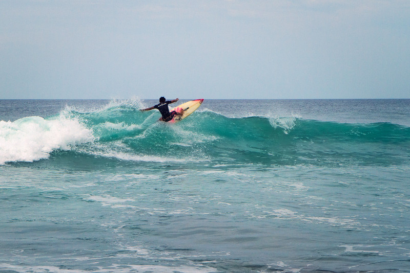 Local surfing Popoyo beach.