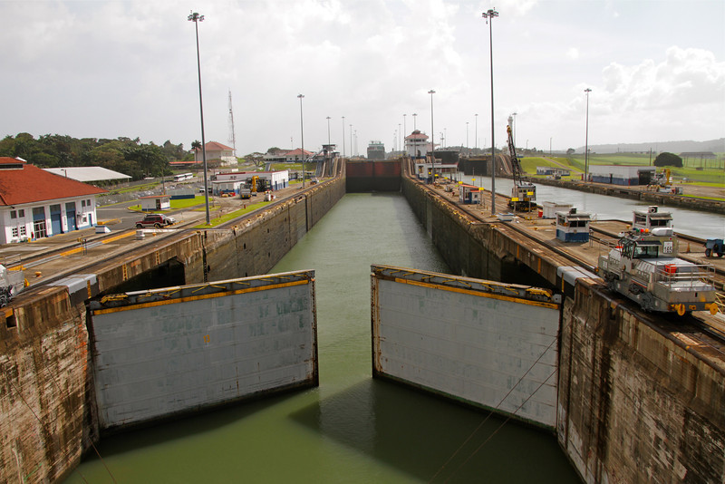 Gates open on the Panama Canal