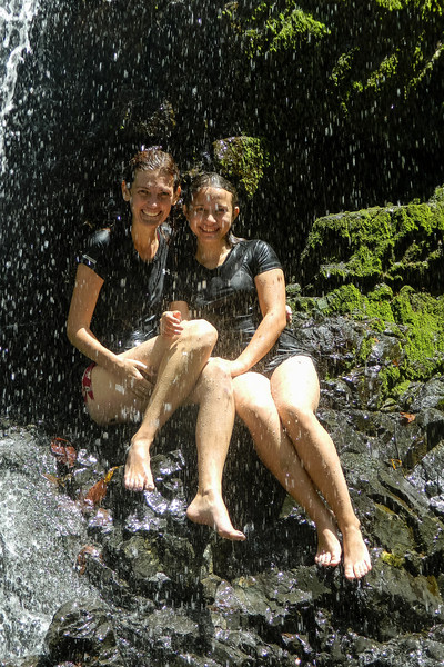 Ana and me enjoying the cold waterfalls near Silico Creek after a very long and hard hike.
