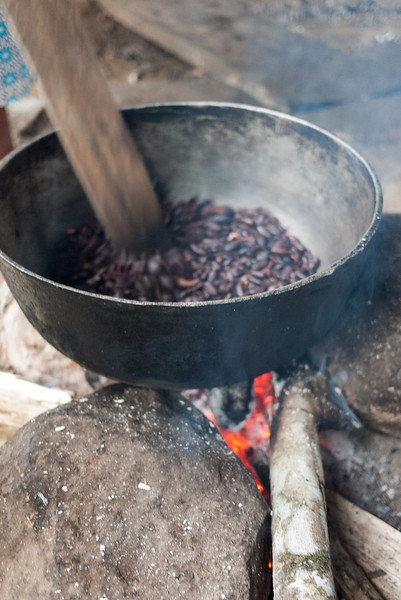 Roasting the cacao seeds so they are ready to turn into chocolate.