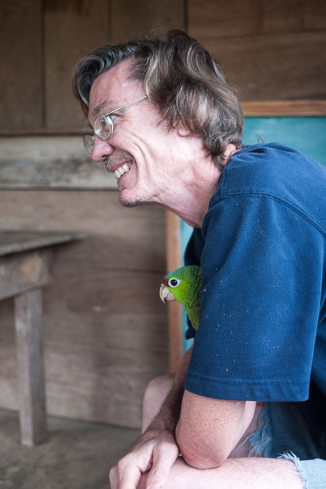 My dad bonded with the baby bird.