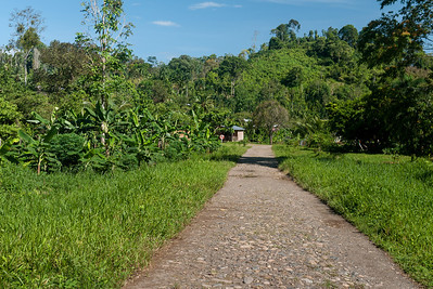 Walking through small villages on the waterfall hike from Silico Creek, Panama.