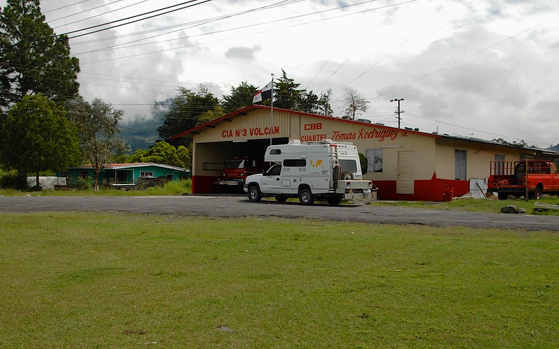 We were interested in keeping to the mountains, where it would stay the coolest; we spent a night here in Volcan, in front of the local fire department headquarters.  We used the fire hoses to get fresh water for our tank.