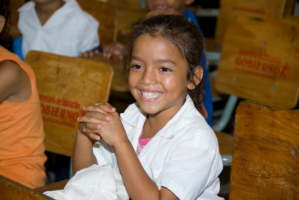 School girl in Roatan, Honduras