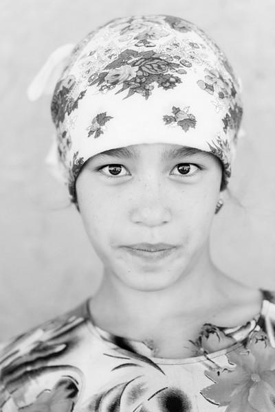 Woman in Floral Dress, Dhamla Village, Turkmenistan