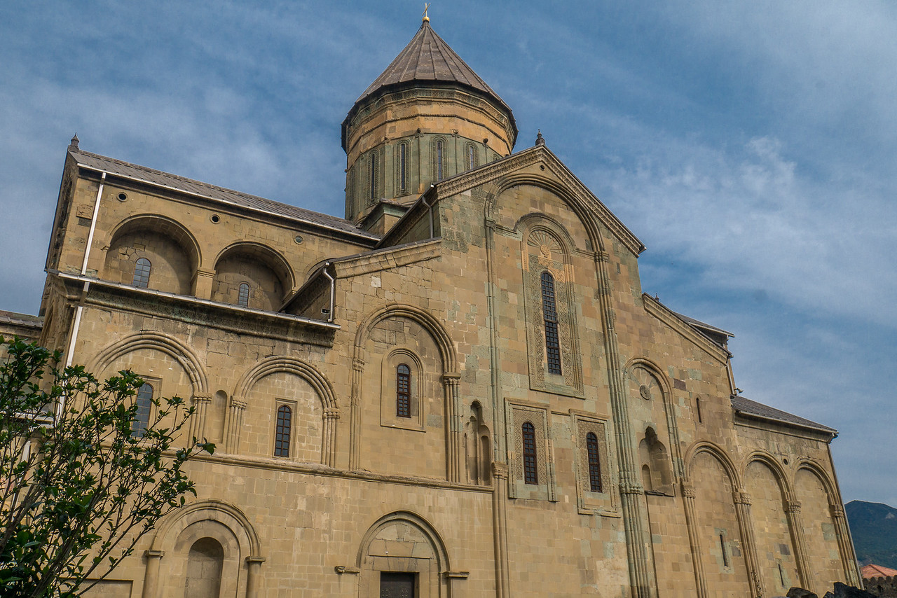 Svetitskhoveli Cathedral, called the Life-giving Pillar, is one of the most sacred places in Georgia. It was founded in 1010 and contains the graves of the ancient Georgian kings. In Mtskheta, Georgia.