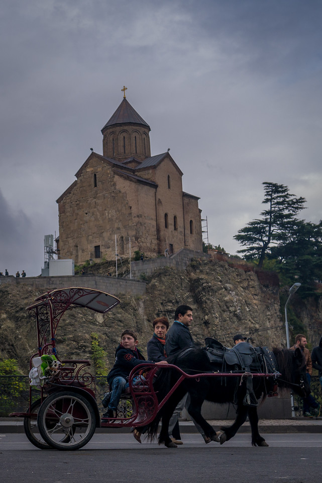 Metekhi Church sits on the Mtkvari River and is an iconic site in the city.  In the historic Old Town, Tbilisi, Georgia.